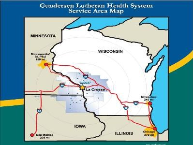 Gundersen Lutheran serves a 19 county area in WI, IA and MN.